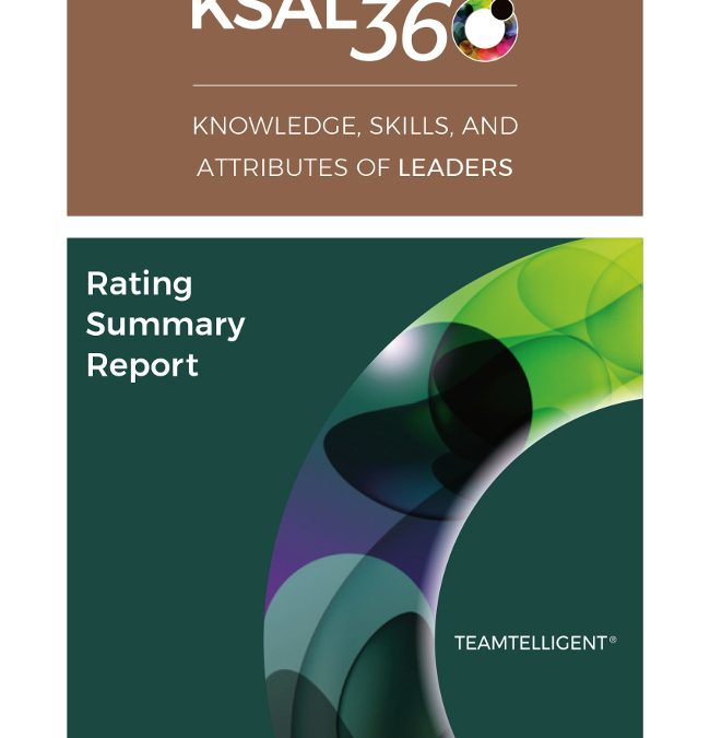 Knowledge, Skills and Attributes of Leaders 360 Survey Rating Report Cover